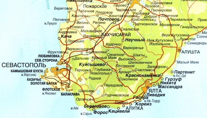 Посмотреть карту южного берега крыма