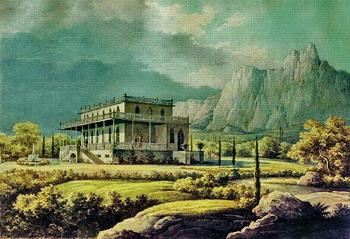 Картина Н.Г. Чернецова (1805 - 1879) 'Вид дома Л.А. Нарышкина в Мисхоре' 1834