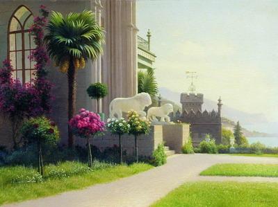 Картина Г.П. Кондратенко 'Алупка. Дворец. Терраса.'